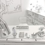 Ein gezeichnetes Büro