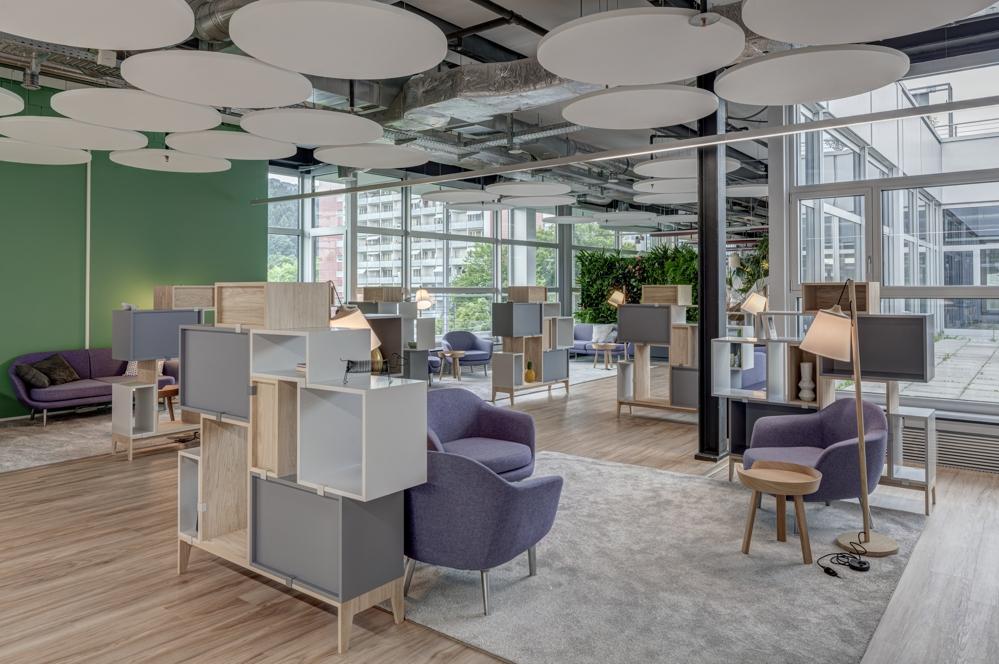 Blick in den Open-Space-Bereich des Coworking-Spaces in Spreitenbach. Abbildung: René Dürr, Architektur Fotografie