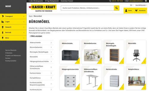 Kaiser+Kraft bietet eine grosse Auswahl an (ergonomischen) Büromöbeln an. Abbildung: Screenshot Redaktion