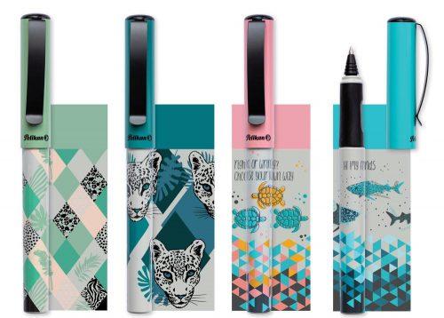 Die Tintenroller Pina Colada von Pelikan in vier Trendmotiven. Abbildung: Pelikan